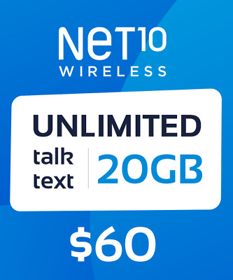 Net10 Wireless $60 Unlimited 30 Days / 1 Month Plan Card