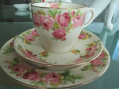 Pretty Vintage Royal Doulton Trio - Pink/gold Roses
