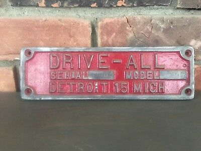 Antique 1915 Drive-All Detroit Michigan License Plate/Model Plate?