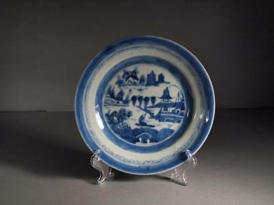 Chinese Export Blue and White Canton Dish Circa 1820