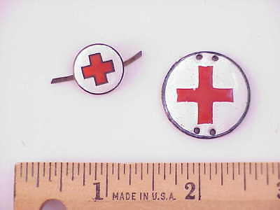 #11 ORIGINAL World War German DRK Red Cross Enamel Insignia Lot of 2