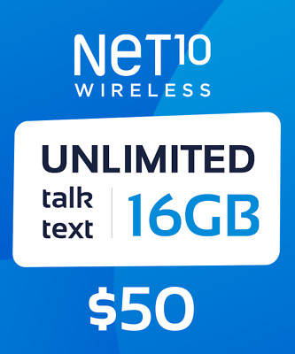 Net10 Wireless $50 Unlimited 30 Days / 1 Month Plan Card