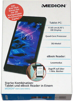 """MEDION 2in1 Tablet PC 7"""" IPS HD SIM 3G 8GB Quad Core eBook Reader E6912 MD 99851"""