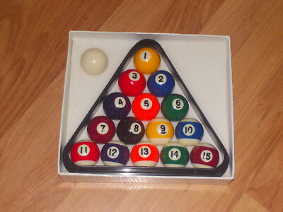 BCE cue sports, pool balls + triangle boxed