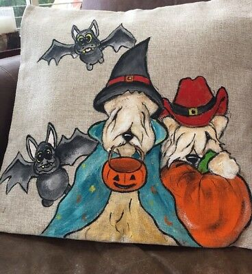 Wheaten Terrier Hand Painted Throw Pillow Cover Insert Not Included By Darci