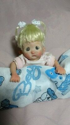 Mini OOAK HAND SCULPTED  Polymerclay   Baby Doll  Girl Lyli 5""