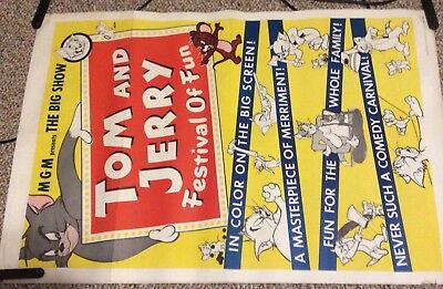 Vintage MGM ORIGINAL Theater Poster 1962 Tom and Jerry 27 x 36""