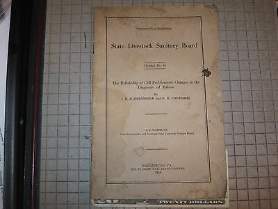 Pa State Sanitary Board Circular # 46 1916 Cell Proliferative Changes Rabies Vet