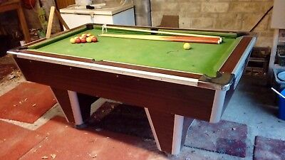 pool table slate bed pub size not coin opperated c/w balls & cues
