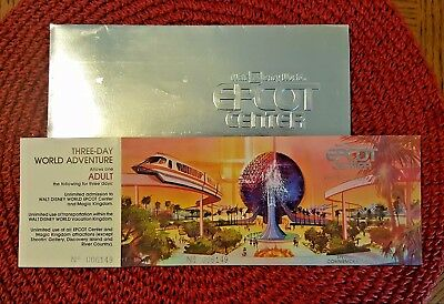 Valid 3 Day Epcot Opening Day 10/1/1982 Commemorative Ticket Park Hopper Disney