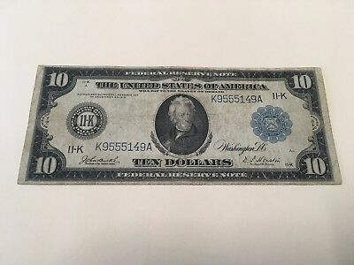 SERIES OF1914_$10 Ten Dollar Large Bill Federal Reserve Note  _DALLAS TEXAS_11-K