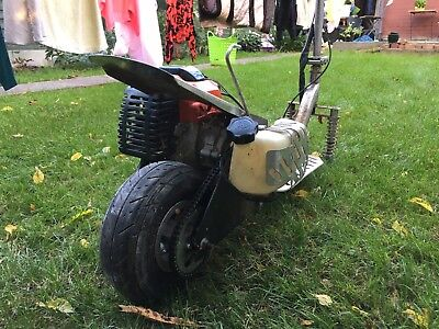 Petrol goped scooter, spares or repair, engine starts. Go ped, mini moto