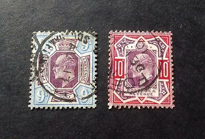 GREAT BRITAIN, SG 250/254. EVII 9d & 10d Fine used. Cat. £150.