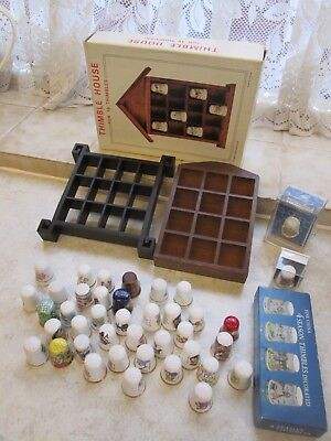 Collection of Thimbles and Cases Snow White, Dwarfs, Seasons, Flowers Etc