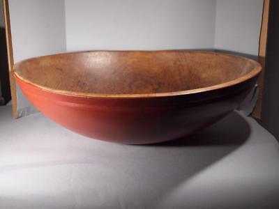 Very Large Antique Red Painted Dough Bowl
