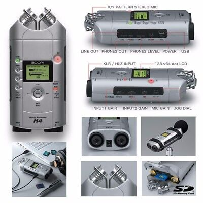 ZOOM H4 Handy Audio Recorder Mic. For Professional/Amateur use w/ accessory kit