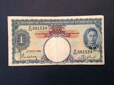 -1941 Malaya George VI One Dollar P 11