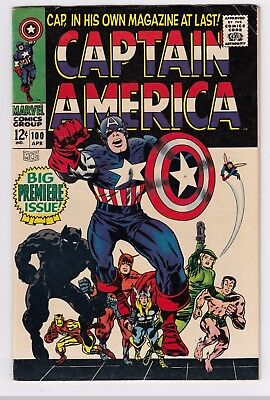 CAPTAIN AMERICA #100 (1968)  MID to HIGH GRADE   JACK KIRBY cover and art