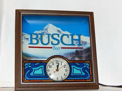 Vintage 1987 Busch Beer Lighted Sign With Clock