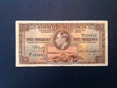 - 1937 Bermuda George VI Five  5 Shillings  P 8b