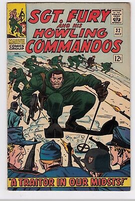 SGT. FURY HOWLING COMMANDOS #32 (1966)  MID GRADE    DICK AYERS cover
