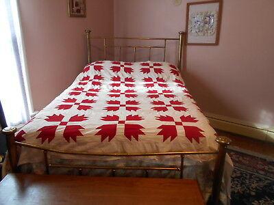 "Vintage Antique Red Bear Paw Quilt Top Hand Stitched Cotton 82""X82"" 1900s 1910s"