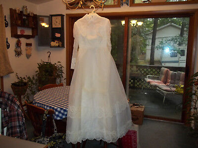 """Vintage Wedding Gown & Veil,1960's or Early 70""""s,Pomeroy's Dept Store"""