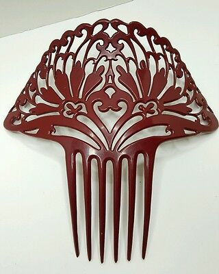 """Stunning Antique Victorian Bakelite Hair Comb Ornate And Large 8""""  Deep Dk Red"""