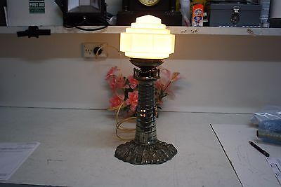 UNIQUE HEAVY CAST METAL LIGHTHOUSE LAMP (c)1920-30's.