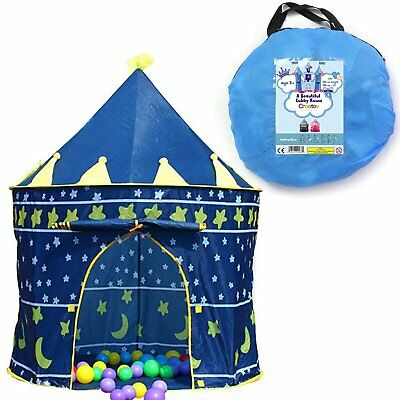 Children Play Tent Boys Girls Prince House Indoor Outdoor Blue Foldable Tent