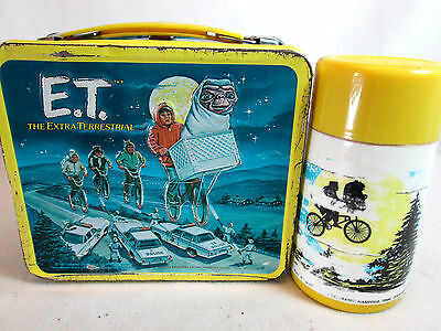 Vintage 1982 E.T The Extra-Terrestrial metal lunch box and thermos by Aladdin