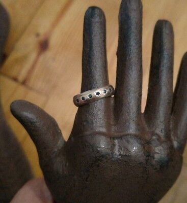 Antique sterling silver 14k gold and sapphires wedding band ring sz 8