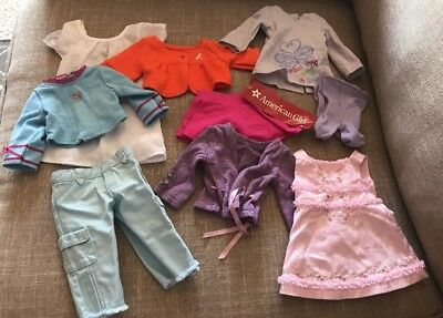9 Lot American Girl Our Generation Clothes Accessories Skirt Sweaters Pant Shirt