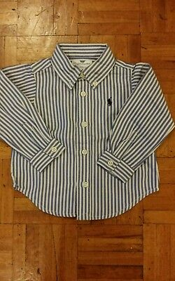 Baby Boys Ralph Lauren Blue White Striped Shirt LS size 3 months Small Pony New