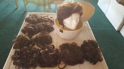 LIQUIDATION; wig carrier, head, wig , 10 med brown wiglets and windswept ponys