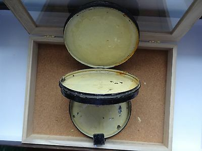 vintage double black Japanned fly fishing cast box awesome antique