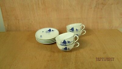 Set 4 Old Blue Nippon Hand Painted Handpainted Sailboat Demitasse Cup & Saucer