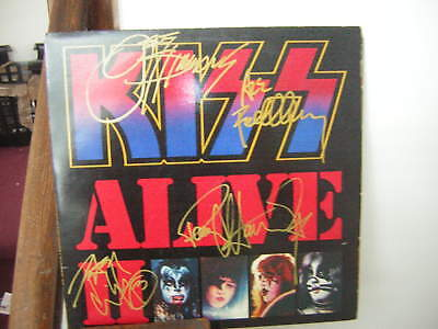 Kiss Signed Lp Alive 2 1977 Simmons Stanley Criss Frehley