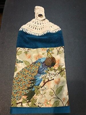 Beautiful Peacock - Crochet Top Kitchen Towel - You Choose Towel/yarn Color