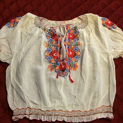 Vintage Hungarian Embroidered Blouse Peasant Style, Used in Good Condition