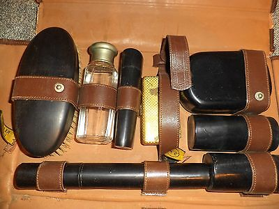 Vintage Mens Travel Shaving & Toiletries Set, Lether, '40s, grooming accessories