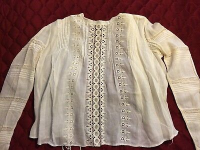 Antique White Cotton Embroidered Blouse, Long Sleeves, Lace Inserts