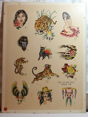 """Vintage tattoo flash hand painted signed """"Moses"""" 18x24 illustration press board"""
