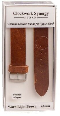 Clockwork Synergy Genuine Leather Apple Watch 42mm Strap Band Worn Light Brown