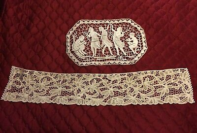 Lot of 2 Antique Vintage Crochet Doilie and Tape Lace Stole, in Good Condition