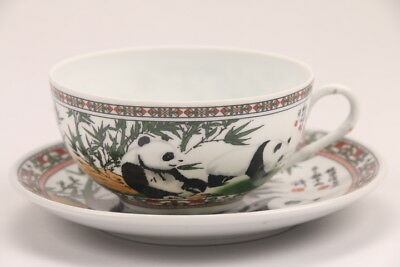 Exquisite chinese painting panda porcelain cup & plate hp384