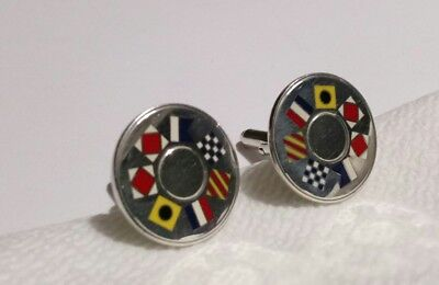Sterling Silver Tiffany & Co. Nautical Flag Cuff Links Signed