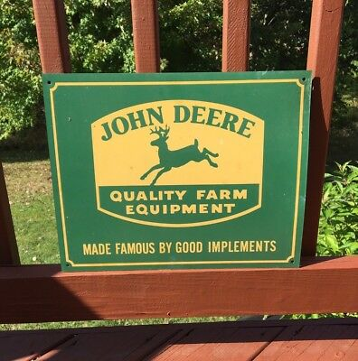 "John Deere Vintage 15"" Metal Farm Tractor Old Sign Seed Feed Gas Oil Signs"