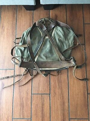 Vintage  Army Green Canvas Military Soldier War Duffle Bag Backpack