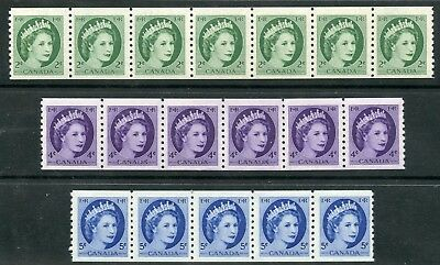 Weeda Canada 345-348 F/VF MNH set of coil strips, QEII Wilding issue CV $32.25